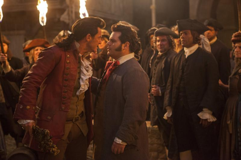 Luke Evans and Josh Gad in Beauty and the Beast. (Disney)