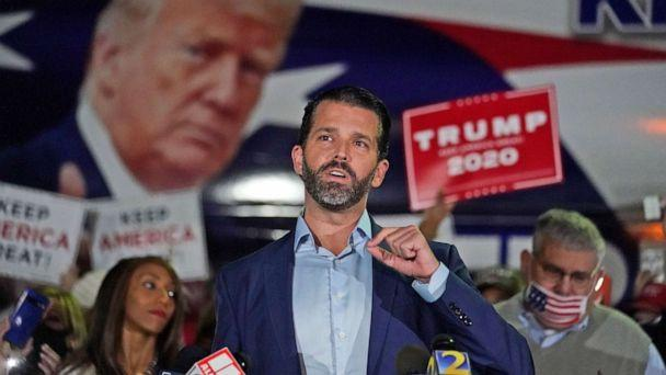 PHOTO: Donald Trump Jr., gestures as he speaks during a news conference at Georgia Republican Party headquarters, Nov. 5, 2020 in Atlanta. (John Bazemore/AP)