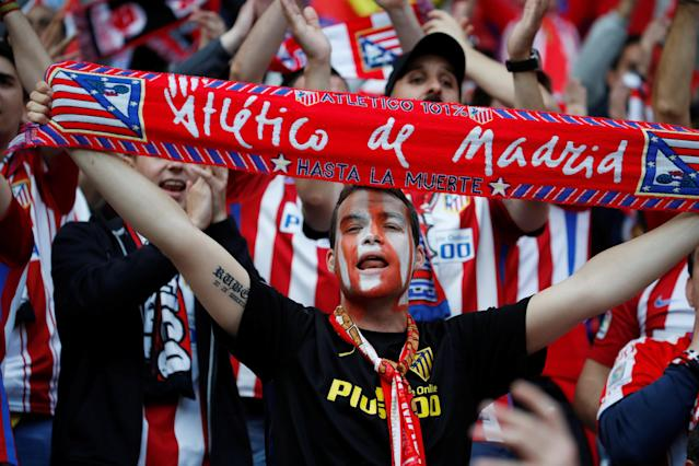 Soccer Football - Europa League Final - Olympique de Marseille vs Atletico Madrid - Groupama Stadium, Lyon, France - May 16, 2018 Atletico Madrid fan with face paint inside the stadium before the match REUTERS/Gonzalo Fuentes