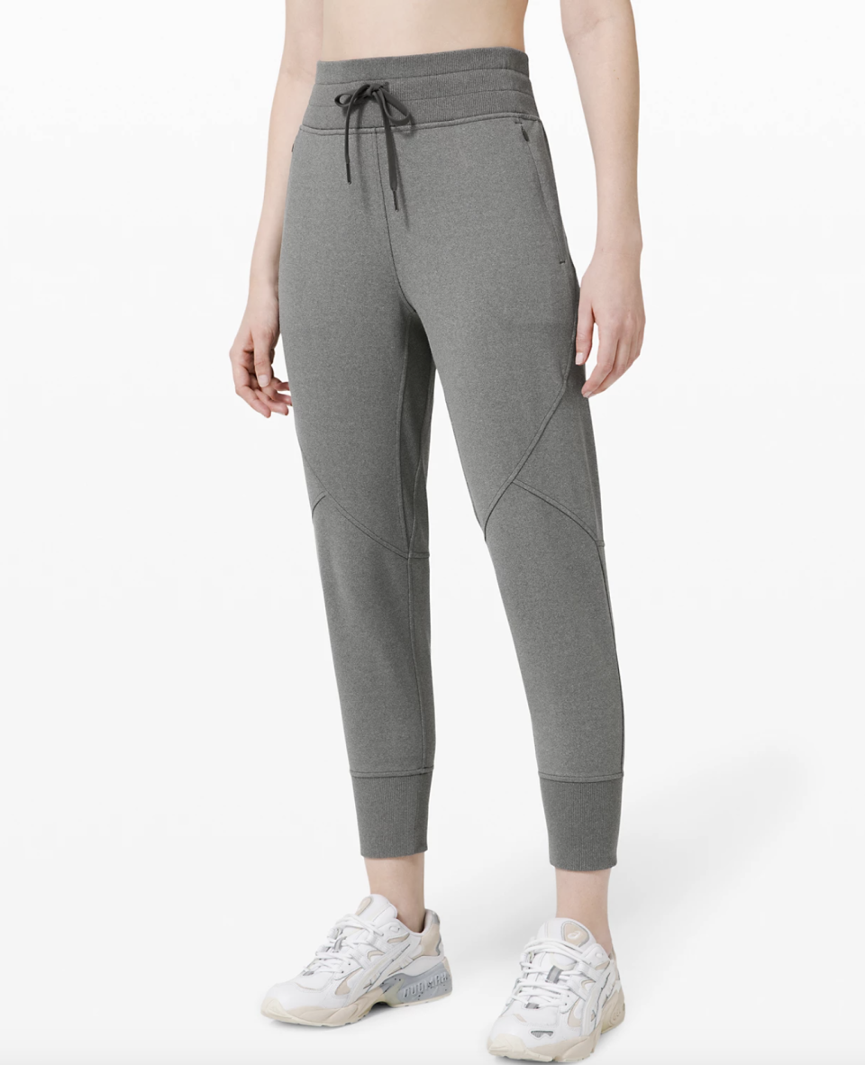 """<p><strong>Lululemon</strong></p><p>lululemon.com</p><p><strong>$79.00</strong></p><p><a href=""""https://go.redirectingat.com?id=74968X1596630&url=https%3A%2F%2Fshop.lululemon.com%2Fp%2Fwomens-joggers%2FMetro-Miles-Jogger-MD%2F_%2Fprod9910118&sref=https%3A%2F%2Fwww.seventeen.com%2Ffashion%2Fg30519407%2Fdoes-lululemon-have-sales%2F"""" rel=""""nofollow noopener"""" target=""""_blank"""" data-ylk=""""slk:Shop Now"""" class=""""link rapid-noclick-resp"""">Shop Now</a></p><p><strong><del>$118</del> $79 (33% off)</strong></p><p>Guys aren't the only ones who look great in a pair of gray joggers. Take home your own pair for $39 off and see for yourself.</p>"""