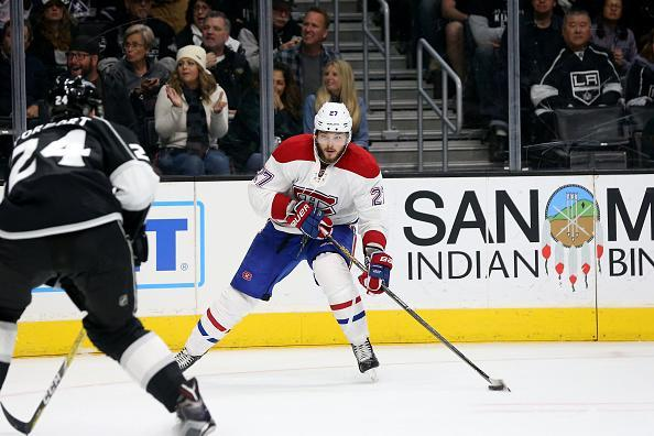 LOS ANGELES, CA - DECEMBER 04: Montreal Canadiens Center Alex Galchenyuk (27) passes the puck during the game against the Los Angeles Kings.on December 04, 2016, at the Staples Center in Los Angeles, CA. (Photo by Adam Davis/Icon Sportswire via Getty Images)