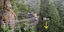 "<p><strong>North Vancouver, British Columbia </strong><br></p><p>Next door to the historic Capilano Suspension Bridge, the <a href=""https://www.capbridge.com/explore/cliffwalk/"" rel=""nofollow noopener"" target=""_blank"" data-ylk=""slk:Cliffwalk"" class=""link rapid-noclick-resp"">Cliffwalk</a> opened in 2011 with 700 feet of bridge hanging off a cliff about 230 feet above a canyon. The bridge can handle 100,000 pounds of weight while anchored to the cliff's walls. To make the natural Capilano River canyon even more impressive, sections of the Cliffwalk feature glass-bottom walkways. Not for the faint of heights.</p>"