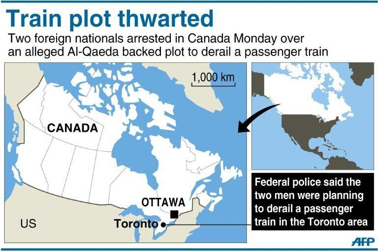 Graphic showing Toronto in Canada, where Canadian authorities said two foreigners arrested on Monday were planning to derail a passenger train