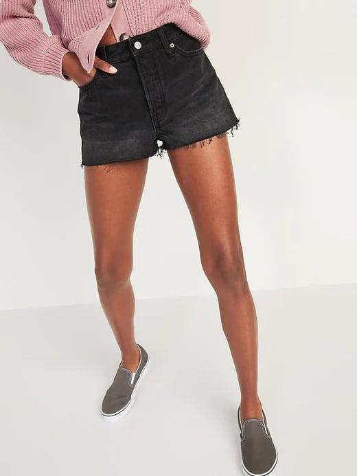<p>You can't go wrong with this pair of <span>Old Navy High-Waisted Button-Fly O.G. Straight Black Cut-Off Jean Shorts</span> ($35), and we find this style's short length and frayed edges cool.</p>