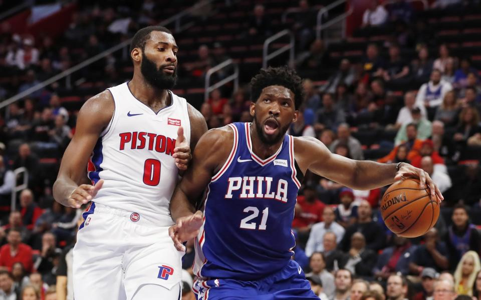 Detroit Pistons center Andre Drummond and Philadelphia 76ers center Joel Embiid love to insult each other. (AP)