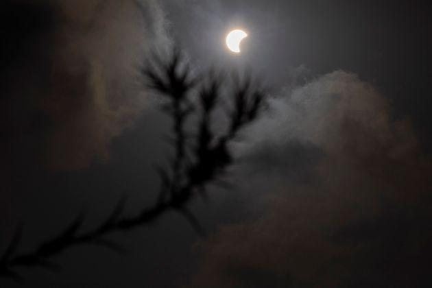 A partial solar eclipse is seen in Hefer Valley, Israel, Sunday, June 21, 2020. (AP Photo/Ariel Schalit)