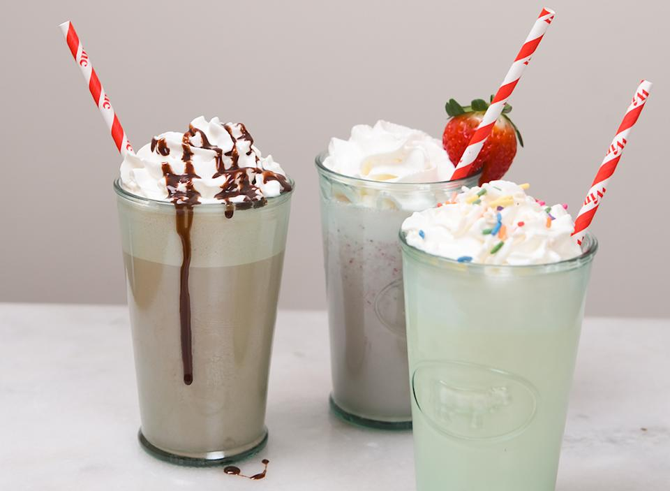 finished milkshakes with straws