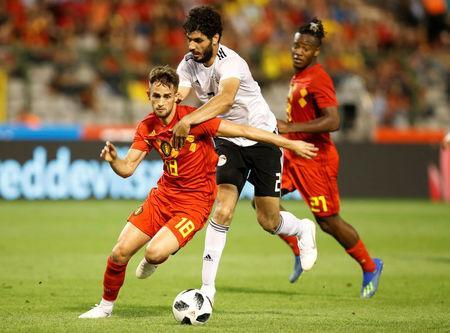 Soccer Football - International Friendly - Belgium vs Egypt - King Baudouin Stadium, Brussels, Belgium - June 6, 2018 Belgium's Adnan Januzaj in action with Egypt's Ali Gabr REUTERS/Francois Lenoir