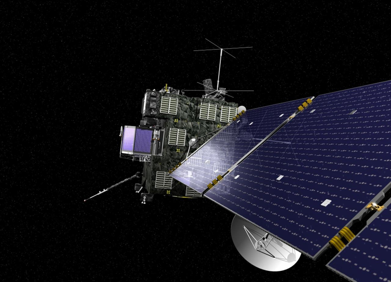 Rosetta, the European Space Agency's cometary probe with NASA contributions, is seen in an undated artist's rendering. After a 10-year journey, Europe's Rosetta spacecraft is due to end its hibernation on Monday and prepare for an unprecedented mission to orbit comet 67P/Churyumov-Gerasimenko and dispatch a lander to the surface. REUTERS/ESA/NASA/Handout (OUTER SPACE - Tags: SCIENCE TECHNOLOGY) THIS IMAGE HAS BEEN SUPPLIED BY A THIRD PARTY. IT IS DISTRIBUTED, EXACTLY AS RECEIVED BY REUTERS, AS A SERVICE TO CLIENTS. FOR EDITORIAL USE ONLY. NOT FOR SALE FOR MARKETING OR ADVERTISING CAMPAIGNS