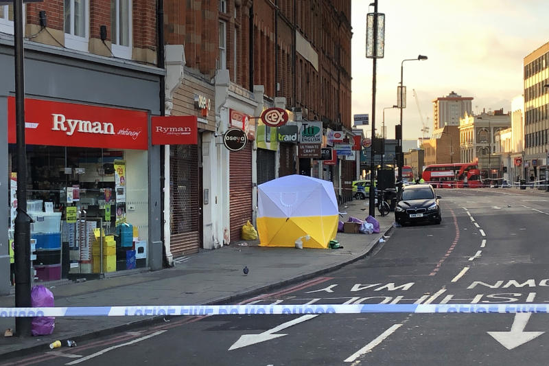 LONDON - SEPTEMBER 13: A Police forensic tent is erected at the scene of a fatal stabbing in Camden on September 13, 2019 in London, England. Emergency services were called to the assault on Camden High Street late on Thursday evening. A man was pronounced dead at the scene and a second man was taken to hospital. (Photo by Jim Dyson/Getty Images)