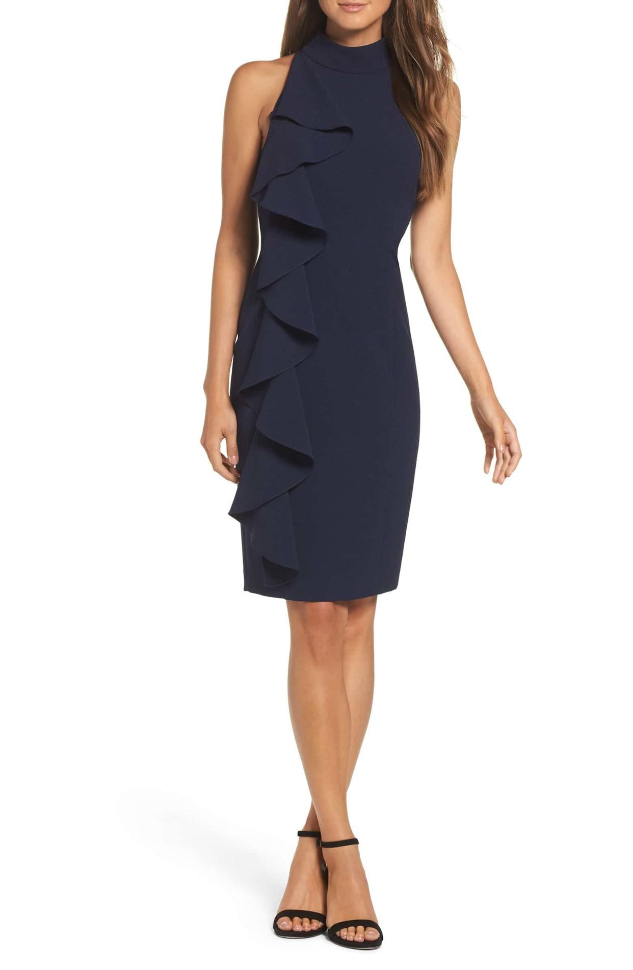 "<strong><a href=""https://shop.nordstrom.com/s/eliza-j-ruffle-sheath-dress/4726686"" rel=""nofollow noopener"" target=""_blank"" data-ylk=""slk:Eliza J ruffle sheath dress"" class=""link rapid-noclick-resp"">Eliza J ruffle sheath dress</a>, $138</strong>"