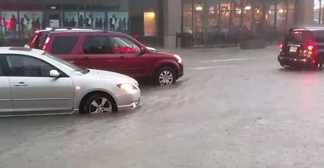 "<p>Central Indiana faced another day of severe weather on Friday, August 26, as storms brought flooding to Indianapolis and the surrounding area</p> <p>In this video, a raucous group outside of the Vogue Theatre in Indianapolis watch the street fill up with water.</p><p>The National Weather Service once again <a href=""https://twitter.com/NWSIndianapolis/status/769314401245593600"" target=""_blank"">pleaded</a> with residents of flooded areas not to try to drive through the floodwaters and advised people to move to higher ground.</p> <p>Just two days earlier a <a href=""https://newswire.storyful.com/storylines/*/stories/139825"">tornado demolished a Starbucks</a> in the neighboring town of Kokomo, Indiana. Credit: Instagram/Brian Tschuor</p>"