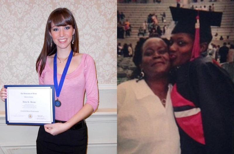Left: Julia at her college graduation Honors Ceremony; Right: Brianna and her mother during her college graduation.