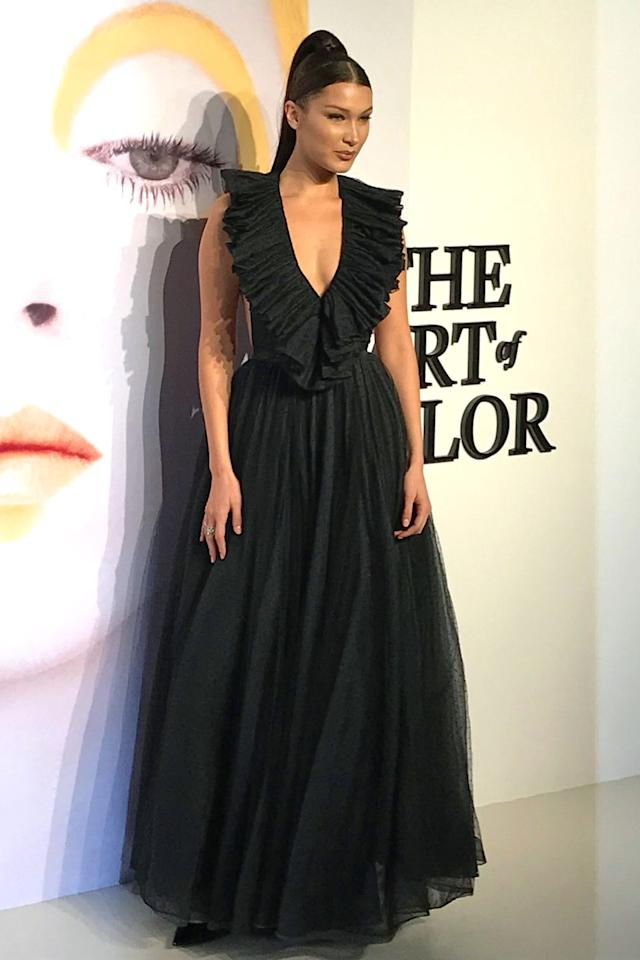 <p>in a plunging ruffled black tulle gown by Dior at the designer's, The Art of Color exhibition at MoCA Shanghai, China. <br></p>