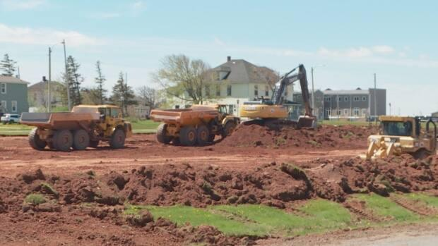 Work on the new 18-lane parking lot started Friday and the municipality and local businesses say they're thrilled with the news. (Jessica Doria-Brown/CBC - image credit)