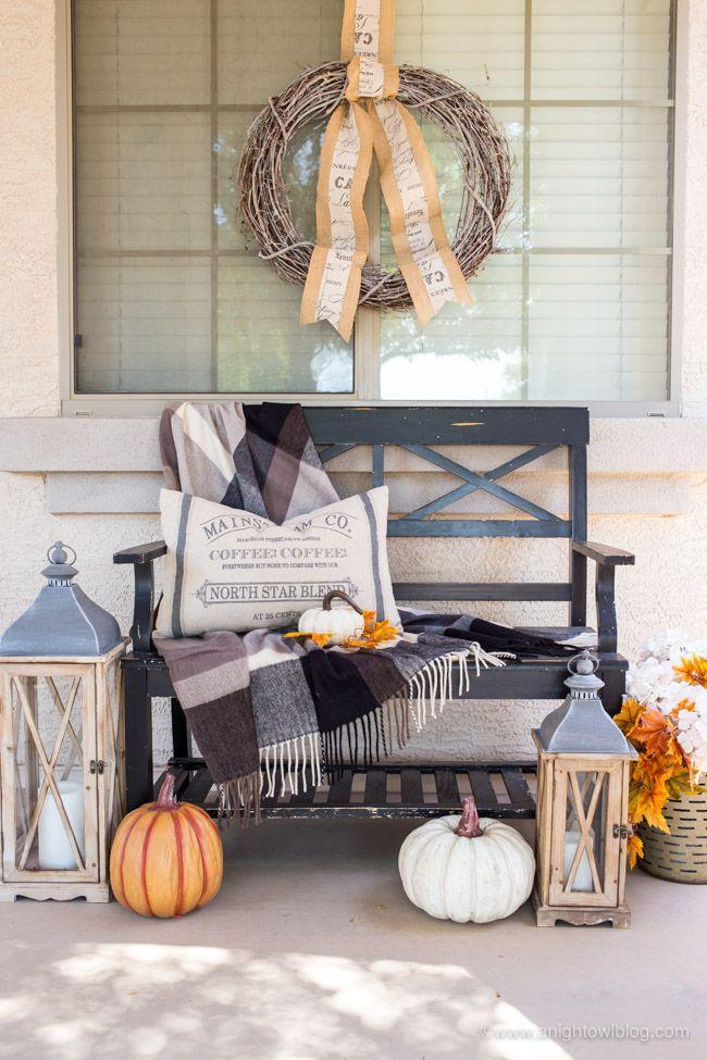 """<p>A bench provides the perfect blank canvas for a pretty fall scene complete with lanterns, pumpkins, and—of course—a pillow and a throw to make it a comfortable place to perch. </p><p><a class=""""link rapid-noclick-resp"""" href=""""https://www.anightowlblog.com/fall-farmhouse-porch/"""" rel=""""nofollow noopener"""" target=""""_blank"""" data-ylk=""""slk:GET THE TUTORIAL"""">GET THE TUTORIAL</a></p>"""
