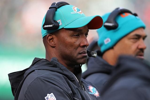 "EAST RUTHERFORD, NEW JERSEY - DECEMBER 08: Wide Receivers Coach Karl Dorrell of the <a class=""link rapid-noclick-resp"" href=""/nfl/teams/miami/"" data-ylk=""slk:Miami Dolphins"">Miami Dolphins</a> follows the play against the <a class=""link rapid-noclick-resp"" href=""/nfl/teams/ny-jets/"" data-ylk=""slk:New York Jets"">New York Jets</a> in the first half at MetLife Stadium on December 8, 2019 in East Rutherford, New Jersey. (Al Pereira/Getty Images)"