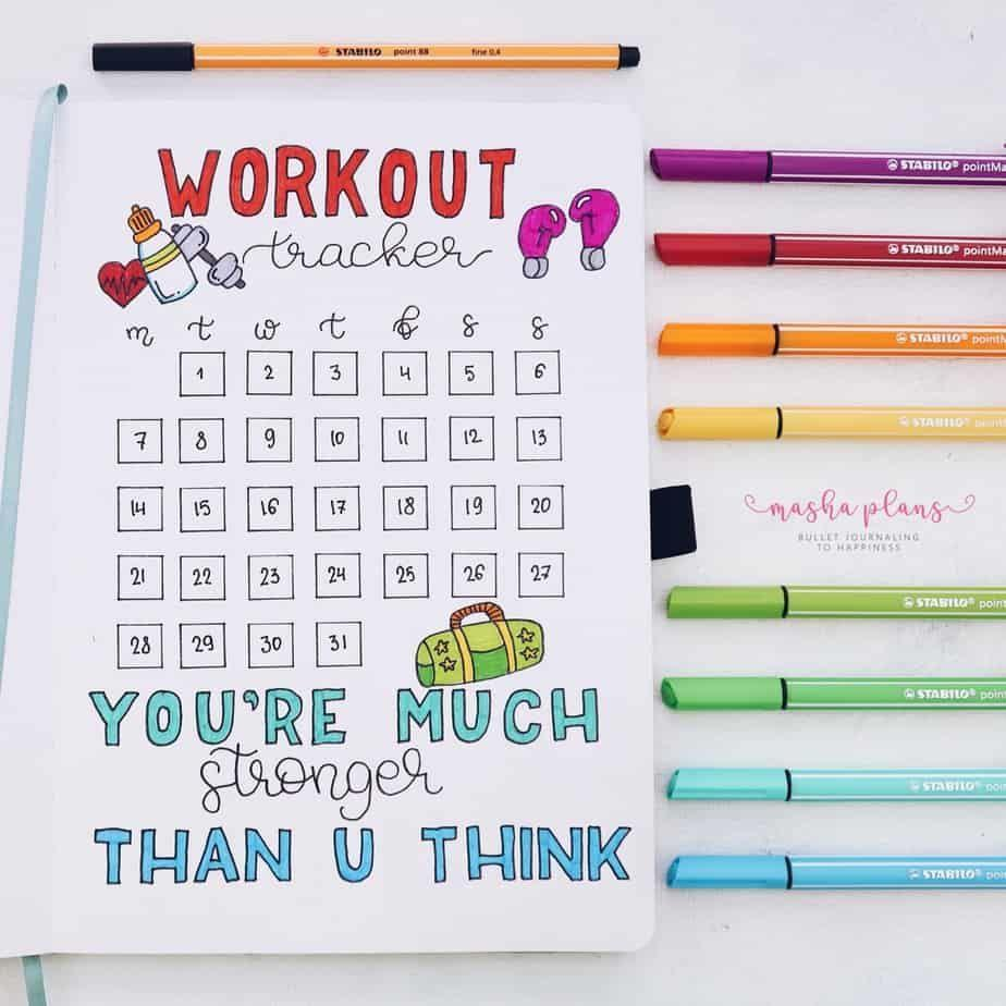 """<p>If you're dedicating yourself to a new fitness plan, stay on track with this workout page from Masha Plans. <a href=""""https://mashaplans.com/self-care-bullet-journal-page-ideas/"""" rel=""""nofollow noopener"""" target=""""_blank"""" data-ylk=""""slk:Self-care pages"""" class=""""link rapid-noclick-resp"""">Self-care pages</a> like this one can help you stay committed to your goals, since filling them in adds extra motivation to stick to it. </p>"""