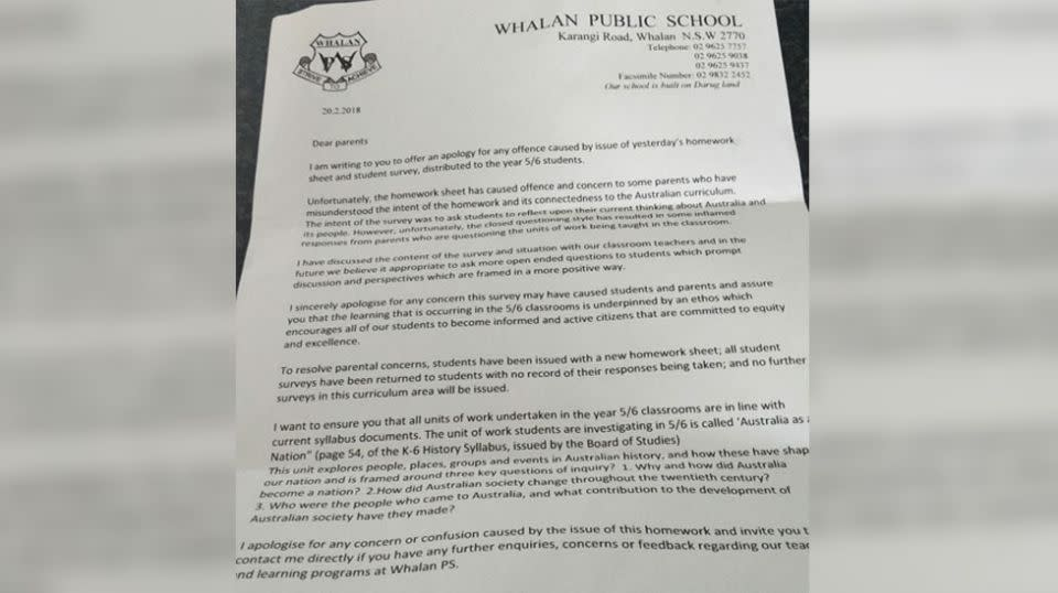 The school issued an apology to parents but stood by the unit of work. Source: Supplied