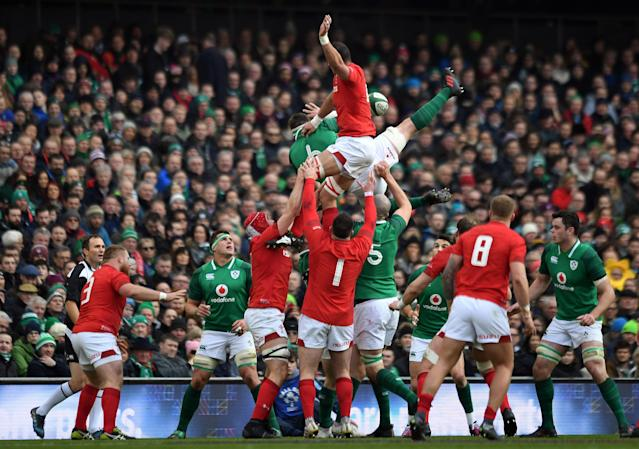 Rugby Union - Six Nations Championship - Ireland vs Wales - Aviva Stadium, Dublin, Republic of Ireland - February 24, 2018 Ireland's Peter O'Mahony wins the lineout against Wales' Aaron Shingler REUTERS/Clodagh Kilcoyne