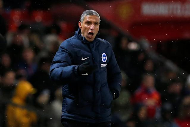 Soccer Football - FA Cup Quarter Final - Manchester United vs Brighton & Hove Albion - Old Trafford, Manchester, Britain - March 17, 2018 Brighton manager Chris Hughton REUTERS/Andrew Yates