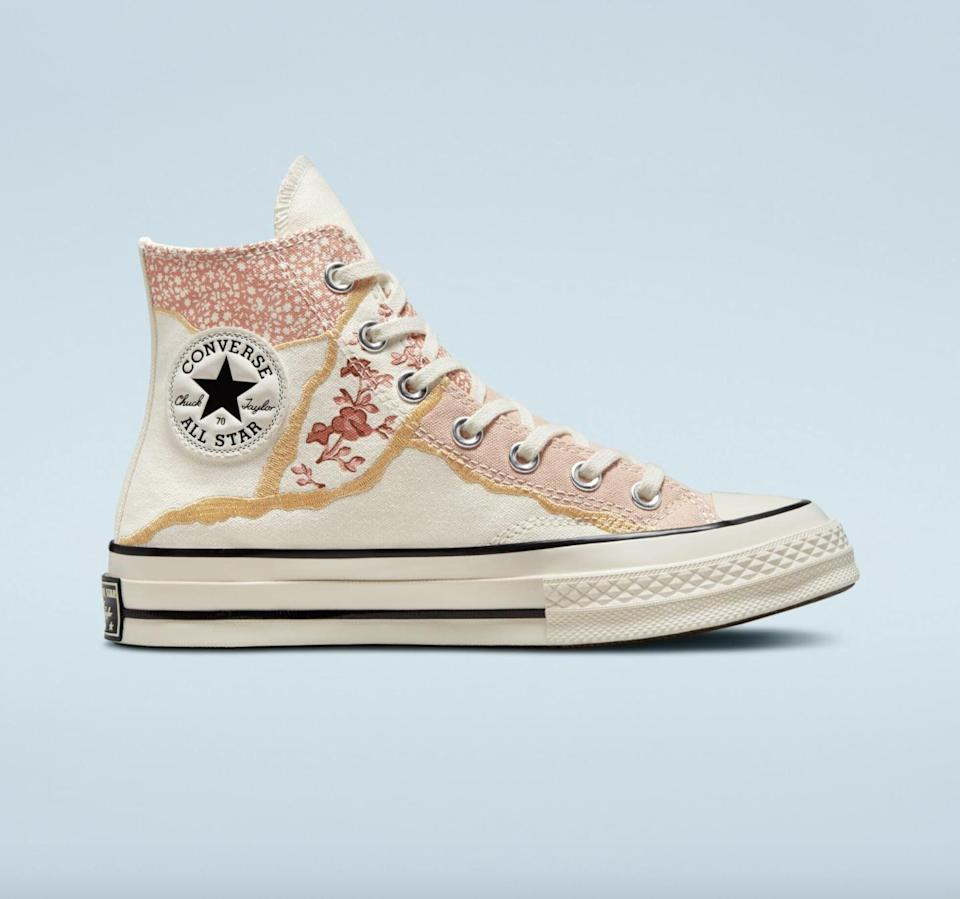 """<p>""""I am a sneakerhead, and I've been on the hunt for a cool, unique pair to wear for fall. The design on these <span> Converse Metallic Floral Chuck 70 Sneakers </span> ($90) is beautiful with its gold accents and mix of floral prints. I'll wear these kicks with a cream chunky sweater and boyfriend jeans."""" - MCW</p>"""