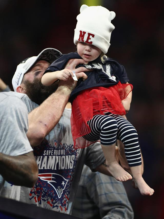 <p>Julian Edelman #11 of the New England Patriots celebrates with his daughter Lily at the end of the Super Bowl LIII at Mercedes-Benz Stadium on February 3, 2019 in Atlanta, Georgia. The New England Patriots defeat the Los Angeles Rams 13-3. (Photo by Jamie Squire/Getty Images) </p>