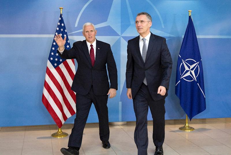 US Vice President Mike Pence (L) recently met with NATO Secretary General Jens Stoltenberg at the NATO headquarters in Brussels on February 20, 2017 (AFP Photo/Virginia Mayo)