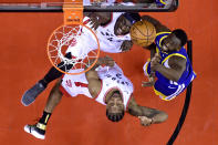 Kawhi Leonard #2 and Pascal Siakam #43 of the Toronto Raptors battles for the rebound with Draymond Green #23 of the Golden State Warriors during Game Two of the 2019 NBA Finals at Scotiabank Arena on June 02, 2019 in Toronto, Canada. (Photo by Nathan Denette - Pool/Getty Images)