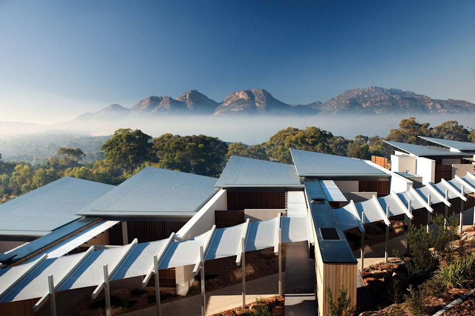 Each suite has a double shower, bath, king bed, private courtyard, heated floors and a complimentary mini-bar filled with local produce. Photo: Supplied/ Saffire
