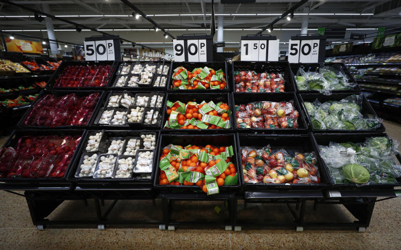 Fresh fruit and vegetables are displayed at the Asda superstore in High Wycombe, Britain, February 8, 2017. REUTERS/Eddie Keogh