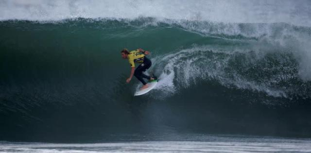 FILE PHOTO: John John Florence of Hawaii surfs during the final of WSL championship at Supertubo beach in Peniche