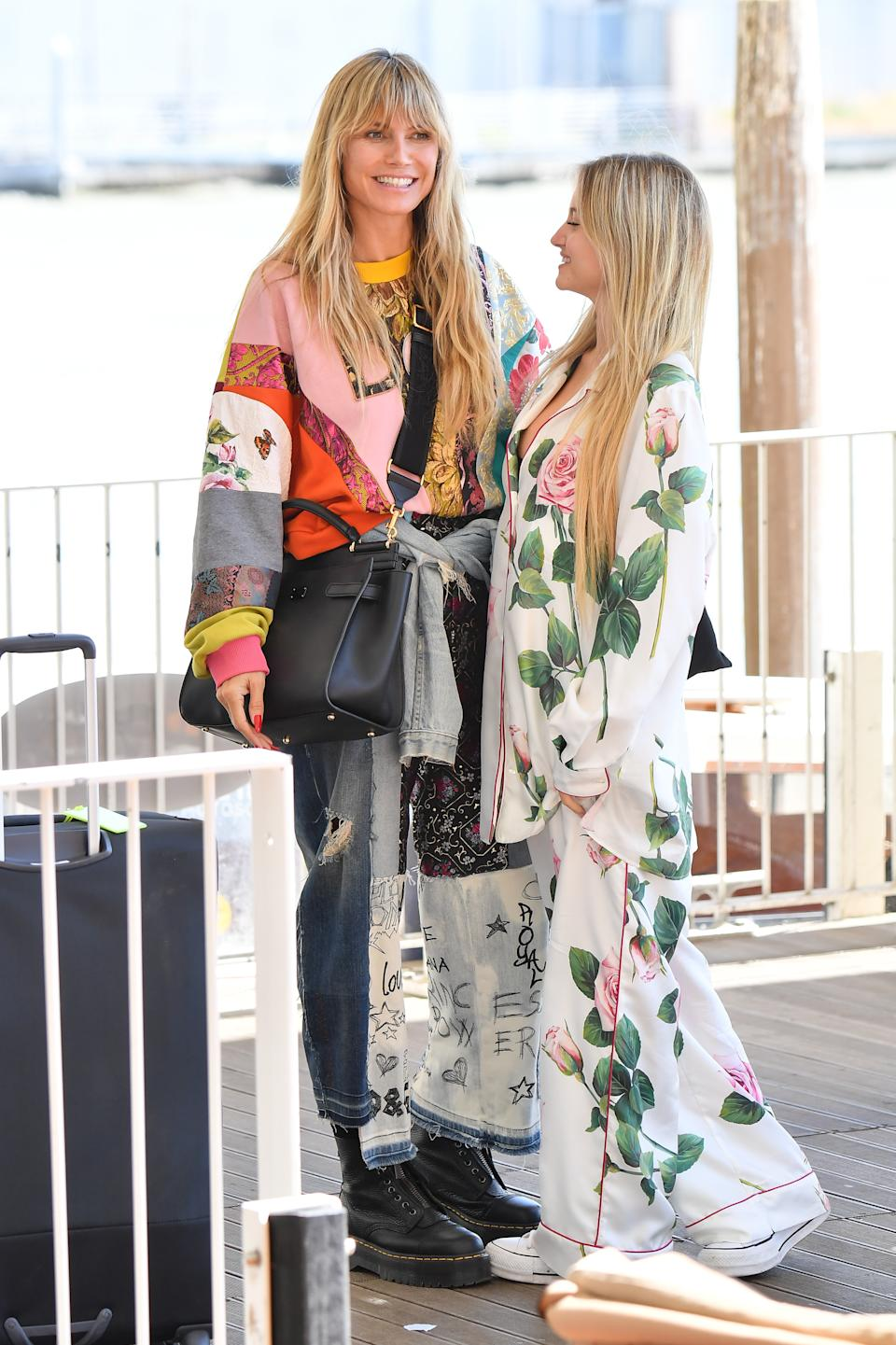 Heidi Klum smiling with her daughter Leni klum wearing a pair of $280 Dr. Martens Sinclair boots in venice, italy