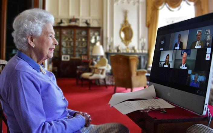 The Queen speaks to the Royal Life Saving Society via an online video call from Buckingham Palace - Buckingham Palace/Buckingham Palace
