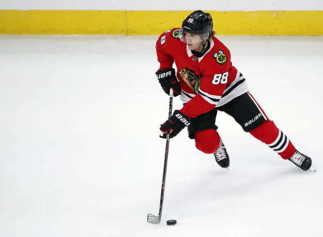Patrick Kane likes the vibe in the Blackhawks' room. (AP Photo/Kamil Krzaczynski)