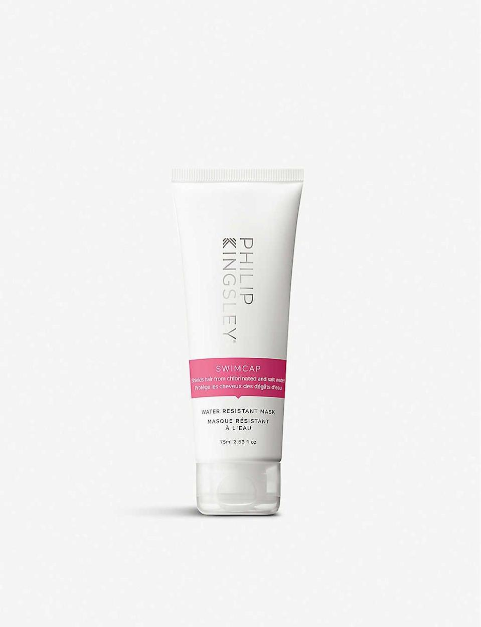 <p>Meant to be applied (and left on) before you hop into the pool or the ocean, the <span>Philip Kingsley Swimcap Water Resistant Mask</span> ($29) filters out sun rays and provides water resistance and protection against dryness caused by chlorine and saltwater.</p>