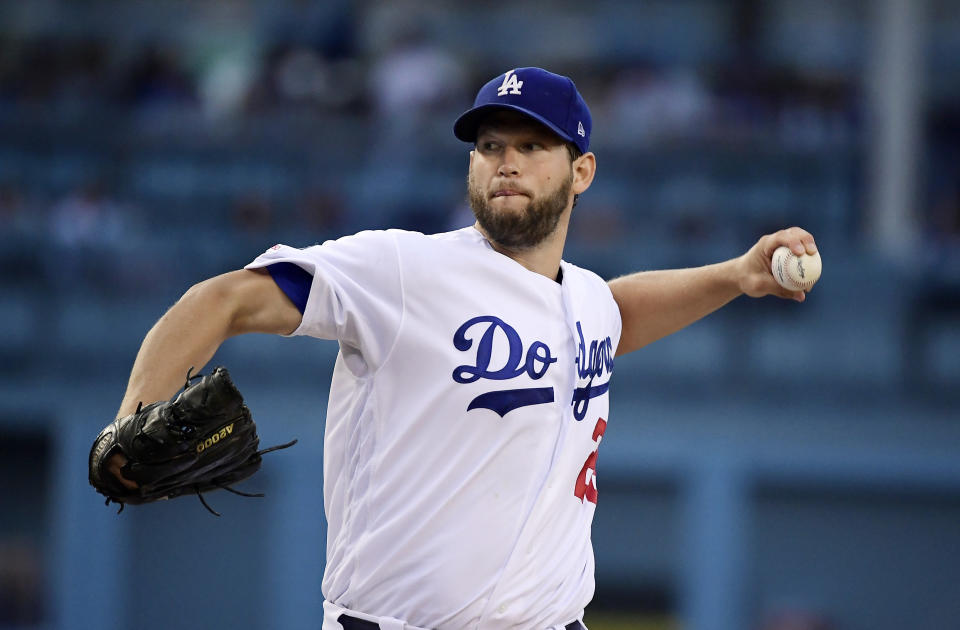 Los Angeles Dodgers starting pitcher Clayton Kershaw throws during the first inning of the team's baseball game against the San Francisco Giants on Tuesday, June 18, 2019, in Los Angeles. (AP Photo/Mark J. Terrill)
