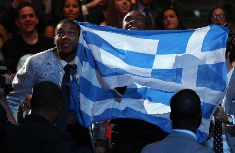 Giannis Antetokounmpo, pictured when he was drafted into the NBA in 2013, has received Greek citizenship, but many other children of migrants struggle (AFP/Mike Stobe)