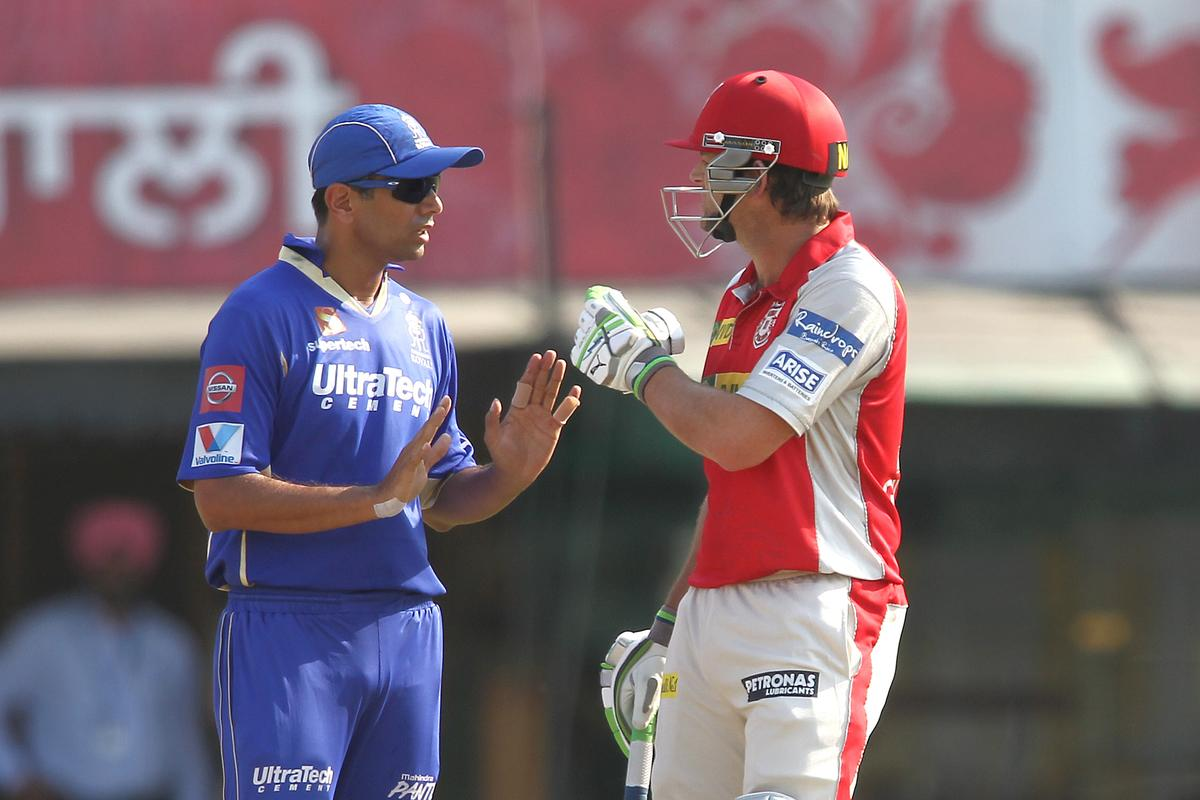 Rajasthan Royals captain Rahul Dravid tries to cool things down with Kings XI Punjab captain Adam Gilchrist after an allocation during match 55 of of the Pepsi Indian Premier League between The Kings XI Punjab and the Rajasthan Royals held at the PCA Stadium, Mohali, India on the 9th May 2013..Photo by Shaun Roy-IPL-SPORTZPICS  ..Use of this image is subject to the terms and conditions as outlined by the BCCI. These terms can be found by following this link:..https://ec.yimg.com/ec?url=http%3a%2f%2fwww.sportzpics.co.za%2fimage%2fI0000SoRagM2cIEc&t=1498381641&sig=fmcoORznhipAD2M0TA7J1g--~C