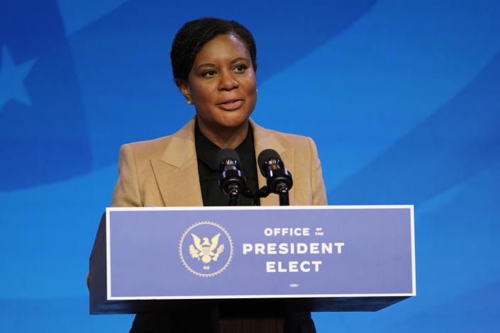 President-elect Joe Biden's nominee for deputy director of the Office of Science and Technology Policy Alondra Nelson speaks during an event at The Queen theater, Saturday, Jan. 16, 2021, in Wilmington, Del. (AP Photo/Matt Slocum)