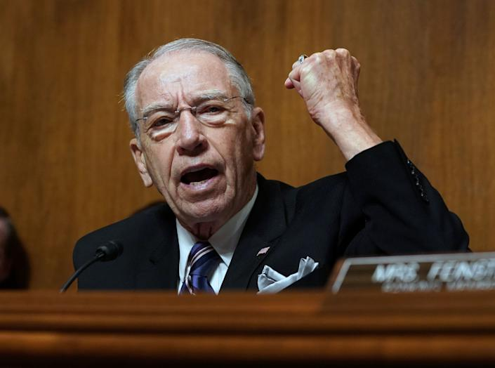 Senate Judiciary Committee Chairman Chuck Grassley, R-Iowa, speaks as Christine Blasey Ford testifies.