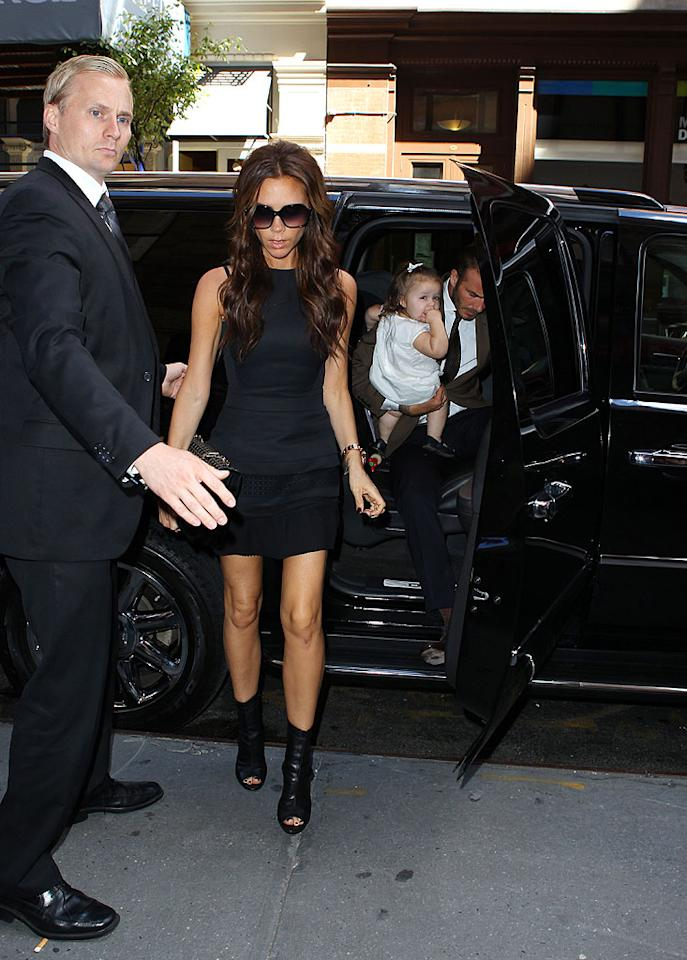 """<p class=""""MsoNormal"""">After knocking her runway show out of the park during Spring 2013 Mercedes-Benz Fashion Week, Victoria Beckham hit NYC hot spot Balthazar for lunch with hubby David Beckham and their daughter Harper. The Soho eatery seems to be a celebratory location for the fashionable pair. The couple did lunch there after Victoria's fall runway show last February. (9/9/12)</p>"""