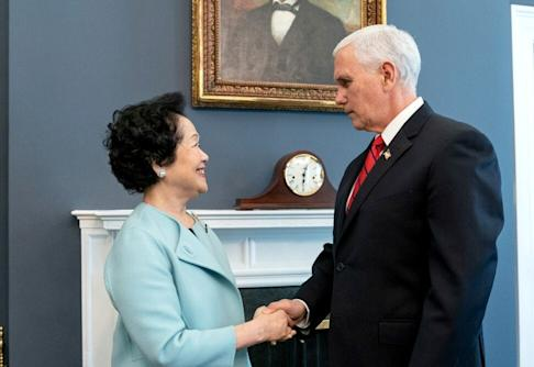 Anson Chan meeting US Vice-President Mike Pence at the White House last year. Photo: Handout