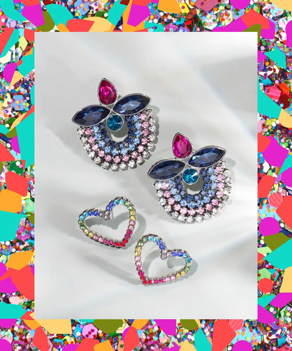 "One pair is for maximalists, the other for not-as-maximalists. Whichever you choose, they're guaranteed conversation-starters. <br> <br> <strong>Betsey Johnson</strong> Hematite-Tone Multicolor Pavé Open Heart Stud Earrings, $, available at <a href=""https://www.macys.com/shop/product/betsey-johnson-hematite-tone-multicolor-pave-open-heart-stud-earrings?ID=10233749&CategoryID=55285&cm_kws=10233747-10233749"" rel=""nofollow noopener"" target=""_blank"" data-ylk=""slk:Macy's"" class=""link rapid-noclick-resp"">Macy's</a> <br> <br> <strong>BCBGeneration</strong> Hematite-Tone Multi-Crystal Cluster Round Drop Earrings, $, available at <a href=""https://www.macys.com/shop/product/bcbgeneration-hematite-tone-multi-crystal-cluster-round-drop-earrings?ID=10233747"" rel=""nofollow noopener"" target=""_blank"" data-ylk=""slk:Macy's"" class=""link rapid-noclick-resp"">Macy's</a>"