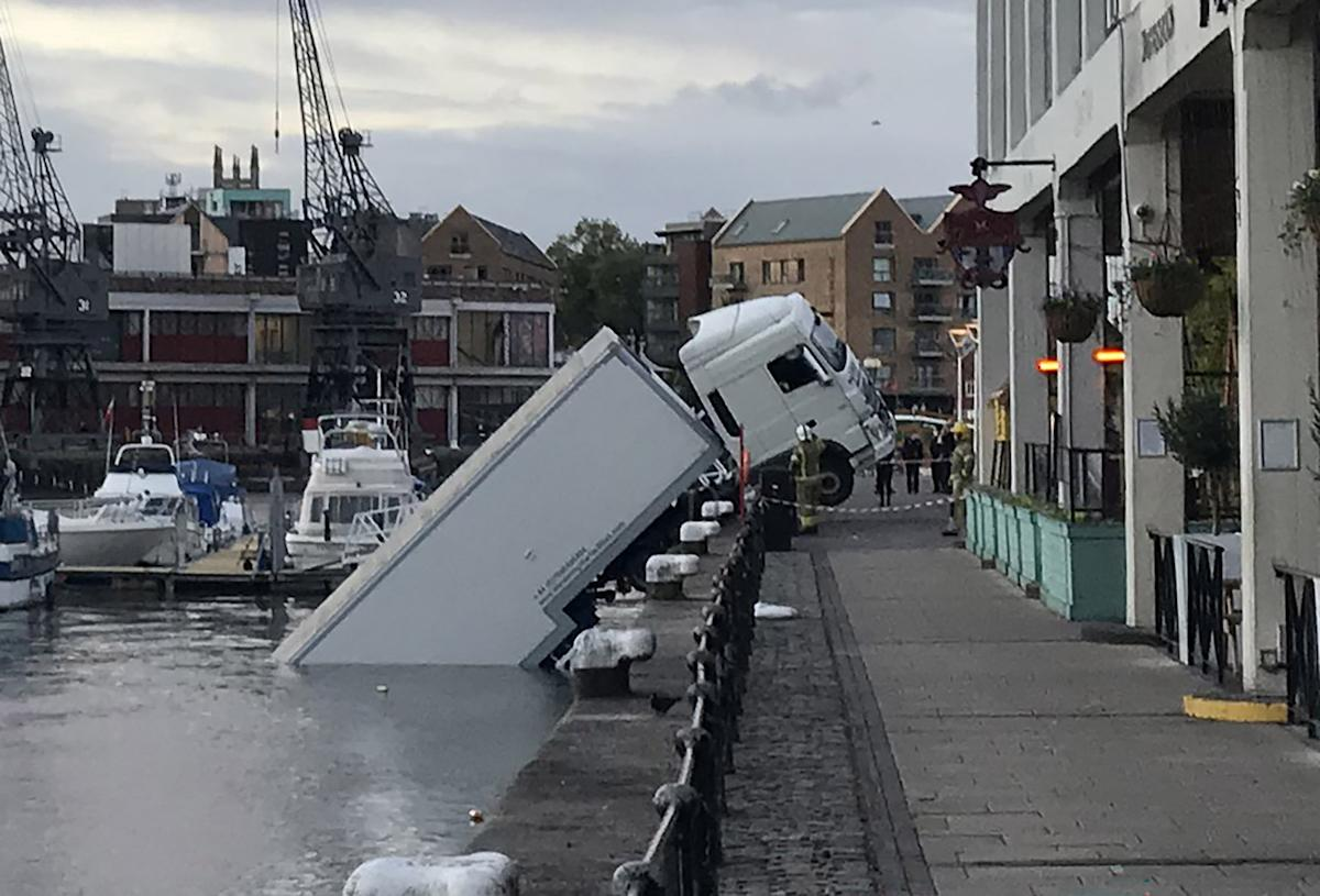 Lorry stuffed with props for BBC falls off Bristol harbour into water below