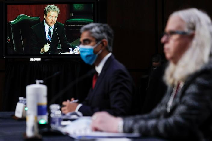<p>Rand Paul questions Dr Rachel Levine on if minors should be capable of deciding to take hormone-blocking drugs</p> (POOL/AFP via Getty Images)