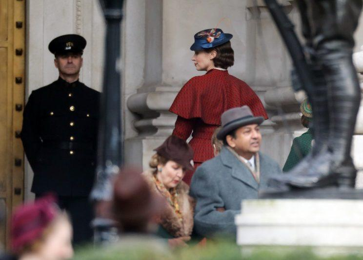 Emily Blunt spotted in London as Mary Poppins Returns begins filming