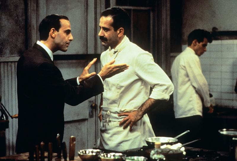 Stanley Tucci as Secondo, Shalhoub as Primo, and a young Marc Anthony as Cristiano in 1996's Big Night.