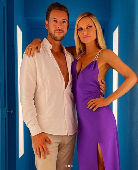 A photo of Joshua Gross and Sophie Monk.