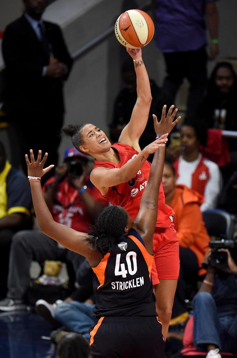 Natasha Cloud of the Washington Mystics shoots the ball against the Connecticut Sun during game five of the 2019 WNBA Finals.